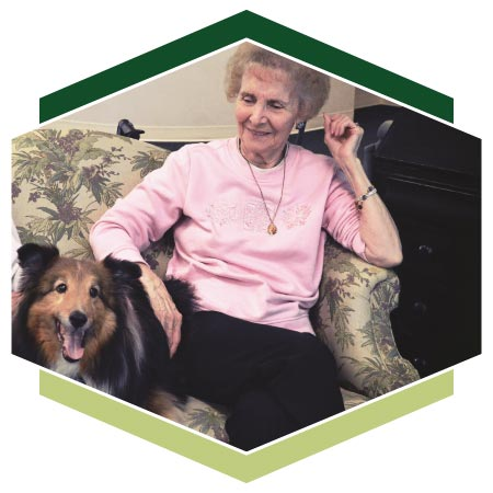 Resident enjoys Highview's pet therapy