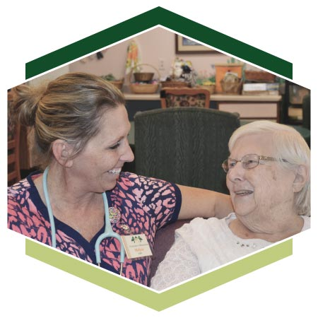 Highview nurse comforting Alzheimer's resident