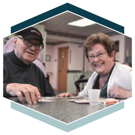 Alzheimer's residents playing card games